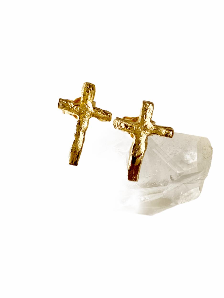 boucles d'oreilles, croix en plaqué or